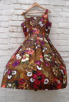 1950s Dress XL  Brown Sunflower 50s Dress by PepperLaneExclusives, $160.00