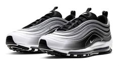 The new Air Max 97 is reflective, retro and futuristic. Find out when and where you can shop the statement style. Air Max 97, Nike Air Max, Air Max Sneakers, Sneakers Nike, Black Tongue, Fade To Black, Jd Sports, Sneaker Brands, Reebok