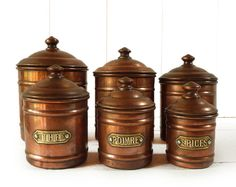 Superb set of 6 French Copper Spices Canisters  by LaLoupiote, $170.00