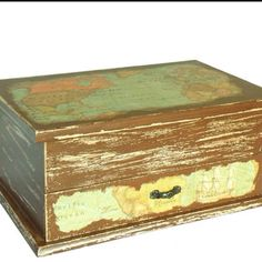 Shabby chic jewelry box with map ETSY