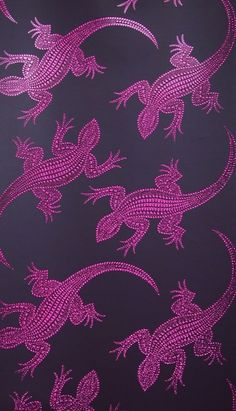Komodo (W6300-06) - Osborne & Little Wallpapers - A stunning Komodo lizard motif in a 3D holographic metallic effect showing in red on a aubergine background. other colour ways available. Please request a sample to see true effect! Paste-the-wall product.