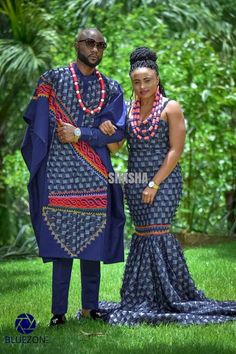 African print couple collection by Cameroonian fashion designer Sha Sha New. Bamenda based Sha Sha drops Agbada inspired outfits for couples Shweshwe Dresses, African Maxi Dresses, Latest African Fashion Dresses, African Print Fashion, African Traditional Wedding Dress, African Fashion Traditional, Traditional Wedding Attire, African Wedding Attire, African Attire
