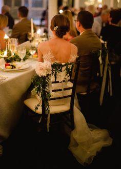 Beautiful garland for bridal chair   Marta Locklear