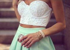 White crop top with pistachio high waist skirt