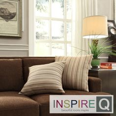 Inspire Q Kayla Montgomery Striped Square Throw Pillows (Set of 2) | Overstock, $57