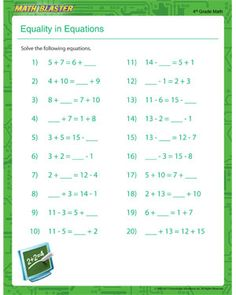 best seventh grade printables images  homeschool worksheets  equality in equations  free printable math worksheet for th grade th  grade math worksheets