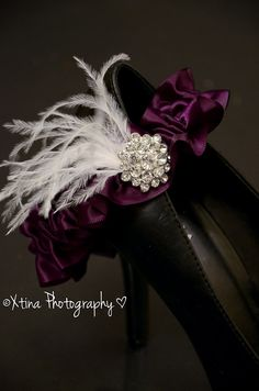 Deep Plum Purple Feather Couture Crystal Bridal Wedding Garter With Feathers. $12.00, via Etsy.