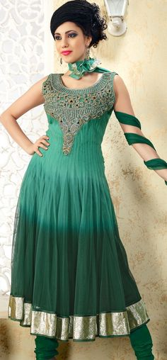 Ornately embroidered teal net anarkali: KSL2589