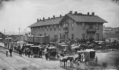 The Topeka Depot of the Atchison, Topeka & Santa Fe, where Fred Harvey took over the second-floor lunchroom in early 1876.