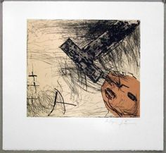 """Artist: Antoni Tàpies, title: """"T"""" and the head (T i cap), technology: Etching, aquatint and collage"""