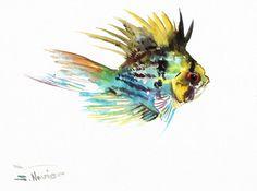 Baloon Ram Cichlid Original watercolor painting 9 by ORIGINALONLY, $28.00