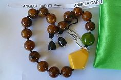 NWT ANGELA CAPUTI Italy High Shine Resin Beads w Crystal Rondelles Necklace