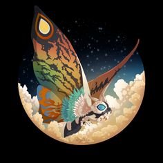 to order your Mothra sticker today. Mothra shirts now available Etsy  Giant Monster Movies, Godzilla Wallpaper, Horror Monsters, Classic Monsters, King Kong, Cultura Pop, Comic Art, Creatures, Sketches