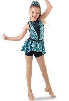 Weissman®   Ultra Sparkle V-Neck Peplum Biketard Pop Star Costumes, Dance Costumes Kids, Tap Costumes, Cool Costumes, Dance Outfits, Kids Outfits, Dance Fashion, Girl Dancing, Costume Design