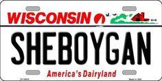 Sheboygan Wisconsin Background Novelty Metal License Plate