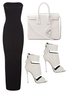 OOTD by thefashionbyjj on Polyvore featuring moda, Wolford, Giuseppe Zanotti and Yves Saint Laurent