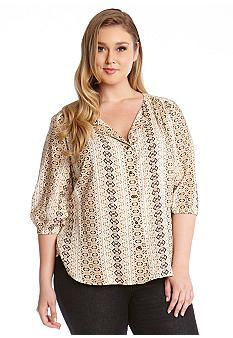 Karen Kane Plus Size Python Print Blouse #Karen_Kane #Plus #Size #Cream #Python #Print #Snakeskin #Pattern #Blouse #Plus_Size #Fall #Fashion #Belk