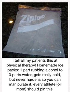 Ice pack.- good to know for all those sore knees and ankles after class...