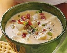 Potato Cheese Soup - I like that this recipe uses frozen hash brown potatoes... I think I have a bag in the freezer! I would make this vegetarian and use veggie broth and use Bacos or Soy / Veggie Bacon.