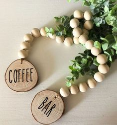 Rae Dunn Inspired Wooden Bead Garland, Rustic Home Decor Wood Garland Country Decor Shelf Decor Home Housewarming Gift by RusticDesignBYMK on Etsy Wood Bead Garland, Diy Garland, Beaded Garland, Garland Ideas, Bead Crafts, Diy And Crafts, Wooden Snowmen, Primitive Snowmen, Primitive Crafts