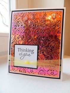 Super easy card with a Cuttlebugged Shimmer Sheetz background and stamped sentiment. Complete instructions on my blog: http://www.saranaumann.com/project-wednesday-shimmer-sheetz-card/