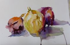 Onions in Watercolor by Patricia Kness Watercolor ~ 5.5 x 7.5