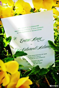 such a cute arrangement of the #invitation and the #wedding #flowers! (courtesy of New Jersey #Wedding #Photography - Dean Michaels Studio - www.deanmichaelstudio.com)
