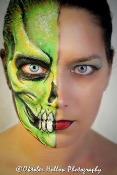 Half Skull Face Paint. ManaArtOnline.com OHP