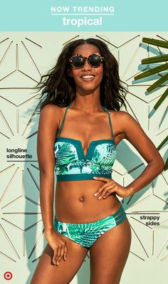 This tropical print bikini is 100% vacay ready. The V-detail in front keeps it flirty, while the retro-inspired bustier style extends a little longer down the torso for support and coverage. The removable strap lets you wear the top as a bandeau, and the bottoms feature cute, strappy sides.