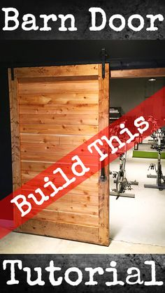 Looking to add a little #rustic and #industrial decor to a room?  This massive sliding #barndoor is an easy #DIY #build for all woodworkers.  Check out the full build plans on Lazy Guy DIY!