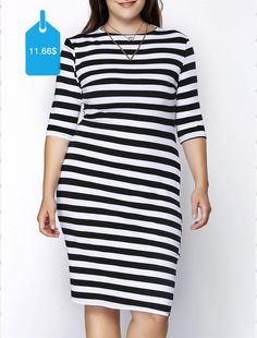 Trendy Round Collar 34 Sleeve Plus Size Striped Skinny Dress For Women