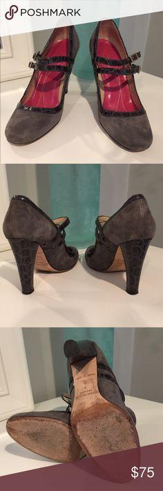 Kate Spade Mary Jane Heels Suede with Crocodile Heels Leather Soles Adjustable Straps heel height 4.25 kate spade Shoes Heels