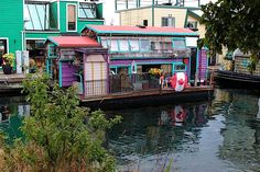 Love the eclectic colors on this houseboat in Fisherman's Wharf in Vancouver, BC.