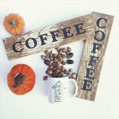 Snagged this double sided Coffee sign from @rusticwildarrow! She inspired me with this picture to set up a pumpkin themed coffee bar  #happyfall #iwokeuplikethis #coffee