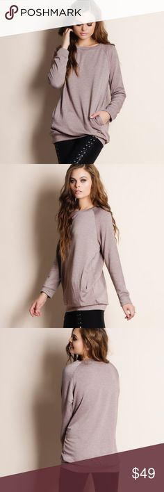 """""""Absent Traveler"""" French Terry Sweater Top Medium weight fabric French terry sweater top. This is an ACTUAL PIC of the item - all photography done personally by me. Model is 5'9"""" 32""""-24""""-36"""" wearing the size small. NO TRADES DO NOT BOTHER ASKING. PRICE FIRM. Bare Anthology Tops Sweatshirts & Hoodies"""