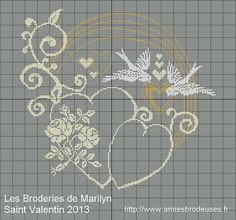 Heart and doves Saint Valentin free cross stitch Free Cross Stitch Charts, Cross Stitch Freebies, Cross Stitch Heart, Cross Stitch Flowers, Embroidery Hearts, Cross Stitch Embroidery, Embroidery Patterns, Cross Stitch Designs, Cross Stitch Patterns