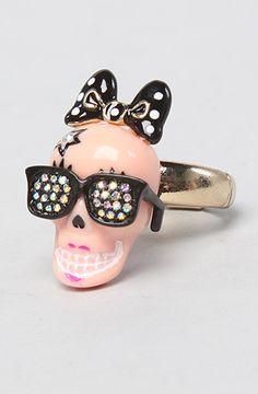 The Film Noir Skull Girl Sketch Ring by Betsey Johnson
