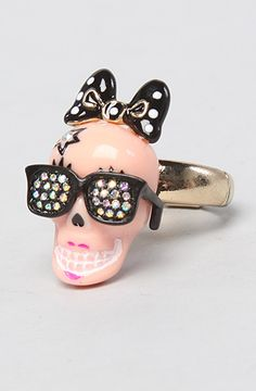 Betsey Johnson The Film Noir Skull Girl Sketch Ring, Save 20% off with Rep Code: PAMM6