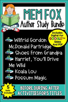 This Mem Fox Author Study is just what you need to celebrate this famous Aussie author. It has all you materials to go with Wilfred Gordan McDonald Partridge, Koala Lou, Harriet, You Drive Me Wild, Possum Magic, and Shoes from Grandpa in both Digital and PDF formats. These wonderful books celebrate life in Australia and family relationships. This bundle includes guided reading materials that you can use with the books, writing options, and more. 4th Grade Writing, 4th Grade Reading, Third Grade Math, Guided Reading, Fourth Grade, Second Grade, All About Me Activities, Book Activities, Mem Fox Books
