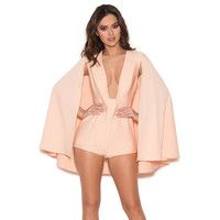 'Maren'  Blush Silky Jersey Caped Playsuit - SALE