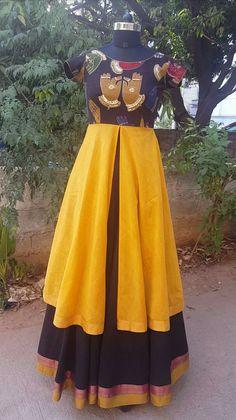 Kalamkari Designs, Salwar Designs, Kids Blouse Designs, Sari Blouse Designs, Long Frocks For Girls, Kalamkari Dresses, Salwar Pattern, Anarkali Dress, Lehenga Gown