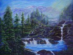 Mountains Pine Trees Landscape Waterfalls by LeslieAllenFineArt, $85.00