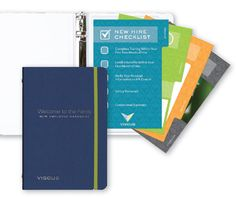 A pharmaceutical company provided a Binder to their employees that features an employee handbook and ruled filler. In the back, a vinyl pocket held full-color tabbed inserts that answered FAQ's and provided important educational info and guides.  Customization Tip Tabbed inserts are a great way to provide important info for quick reference Product Shown 5.5 x 8.5 DeluxeBinder Shown with: Ink ColorFleck Covers with Two 2 Satin Silver Foil Imprints
