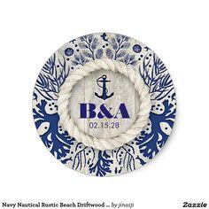 Navy Nautical Rustic Beach Driftwood Wedding Classic Round Sticker - Driftwood 4 Us