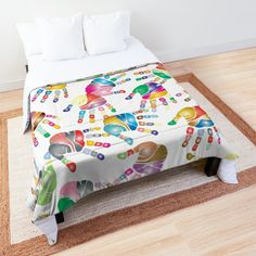 """Colorful palms pattern, rainbow hands on white"" Comforter by cool-shirts 