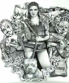 Soner Girl by Mouse Lopez Sexy Payaso Clown Tattoo Canvas Art Print – moodswingsonthenet Chicano Art Tattoos, Chicano Drawings, Dope Tattoos, Estilo Cholo, Usa Tattoo, Cholo Art, Clown Tattoo, Prison Art, Lowrider Art