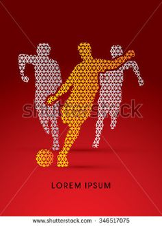Soccer players, Running designed using triangle line pattern graphic vector