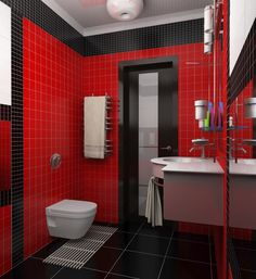 Modern Red And Black Tiled Bath