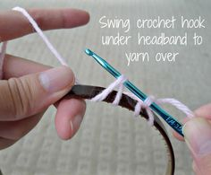 Crocheting on a headband - tutorial. All About Ami - Minnie Mouse Ears Headband