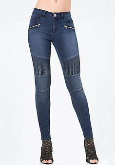 Pintuck Moto Skinny Jeans STYLE # 274985 #bebe #pinyourwishlist